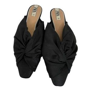 Zara Black Fabric Mules With Knotted Vamp Point